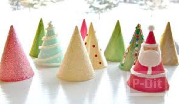 ต้นคริสต์มาส ต้นเล็ก ทำจากกระดาษสี