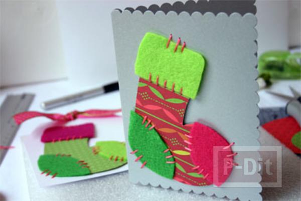การ์ดคริสต์มาส ถุงเท้า น่ารักๆ