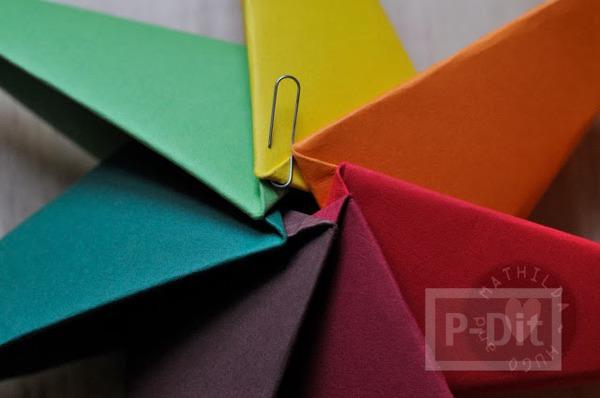 รูป 5 สอนพับดาวกระดาษ สีสด