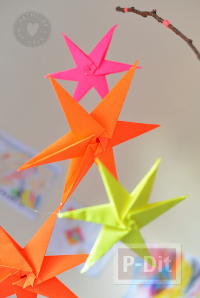 รูป 7 สอนพับดาวกระดาษ สีสด