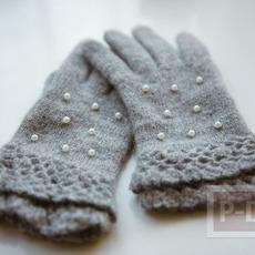 ถุงมือกันหนาว ตกแต่งด้วยไข่มุก