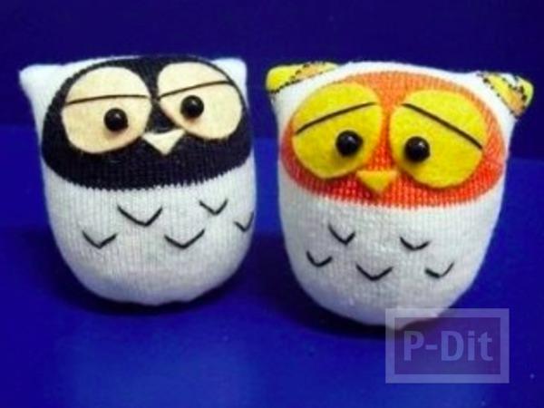 ตุ๊กตานกฮูก ทำจากถุงเท้า