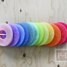 โมบาย ทำจาก หลอดโฟมพลาสติก สีสวย