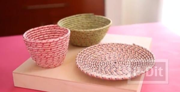 รูป 1 จาน ชาม ใส่ของ ทำจากเชือกสีสดใส