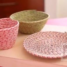 จาน ชาม ใส่ของ ทำจากเชือกสีสดใส