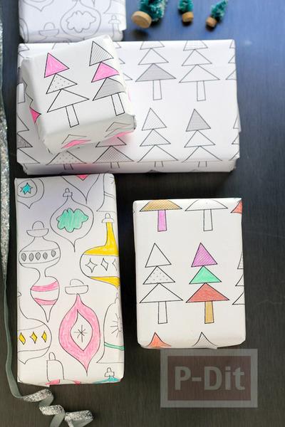 รูป 2 กระดาษห่อของขวัญ ปริ้นลายน่ารัก ระบายสีเอง