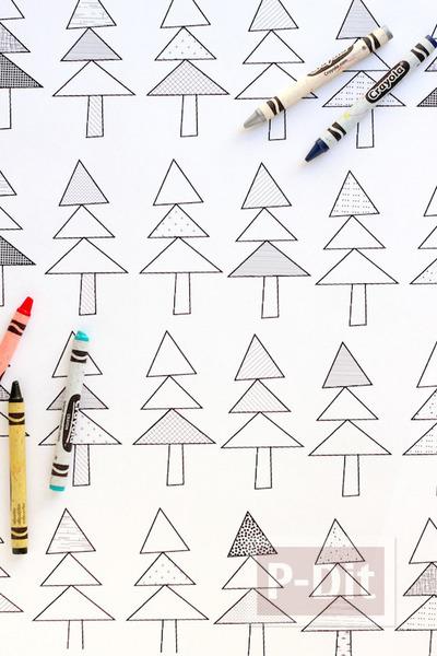 รูป 3 กระดาษห่อของขวัญ ปริ้นลายน่ารัก ระบายสีเอง