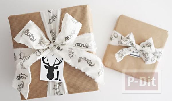 รูป 1 โบว์ผูกกล่องของขวัญ ทำจากผ้าปั้มลาย