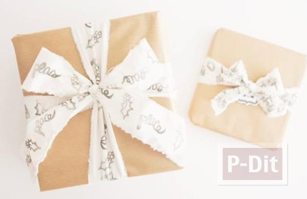 รูป 6 โบว์ผูกกล่องของขวัญ ทำจากผ้าปั้มลาย