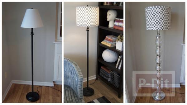 รูป 1 ตกแต่งโคมไฟตั้งพื้น จากขวดพลาสติกใส