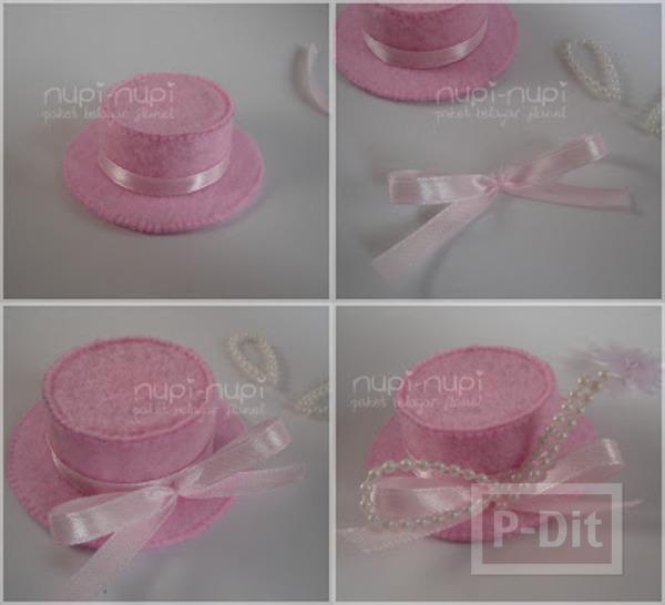รูป 7 หมวกใบเล็ก ทำจากฝาขวดและกระดาษแข็ง