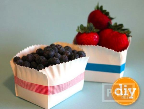 รูป 2 ตะกร้าใส่ผลไม้ ทำจากจานกระดาษ