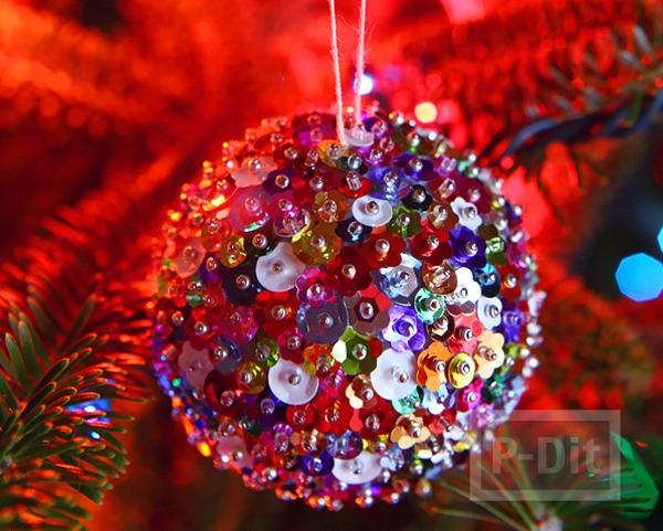 สอนทำลูกบอลตกแต่งต้นคริสต์มาส ประดับเลื่อม