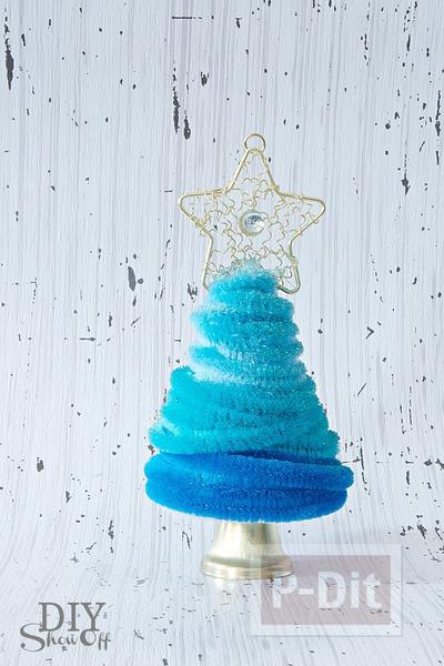 รูป 4 ต้นคริสต์มาส ลวดกำมะหยี่ สีฟ้าใส