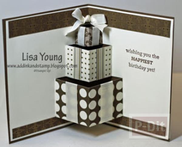 รูป 1 การ์ดป็อบอัพ กล่องของขวัญ สามกล่อง