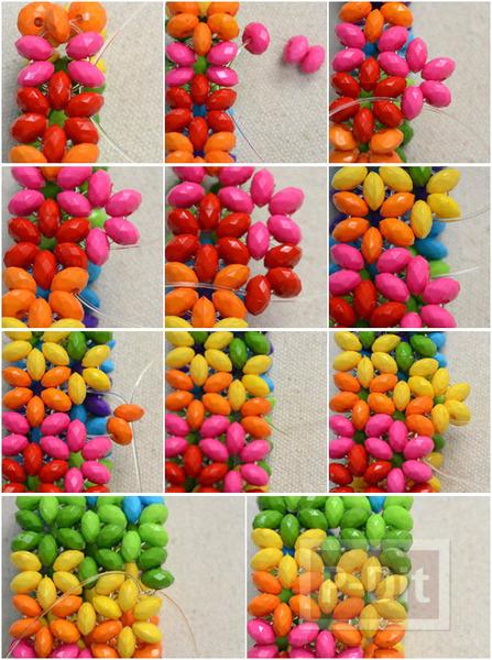 รูป 4 สร้อยข้อมือสีรุ้ง จากลูกปัดสีสดใส