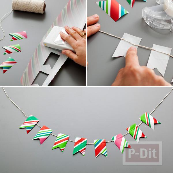 รูป 3 ทำของตกแต่งปาร์ตี้ จากกระดาษห่อของขวัญ ใช้แล้ว