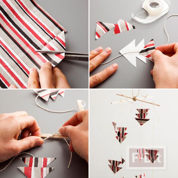 รูป 5 ทำของตกแต่งปาร์ตี้ จากกระดาษห่อของขวัญ ใช้แล้ว