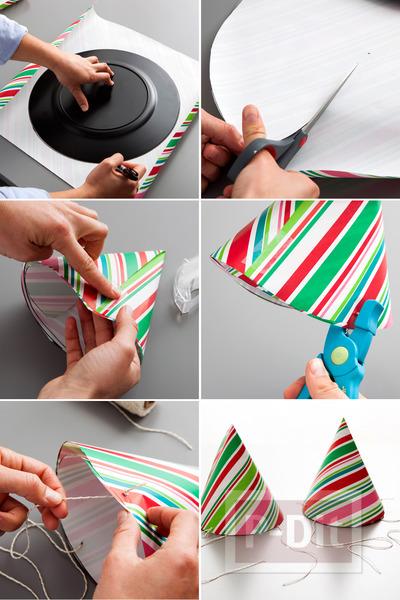 รูป 6 ทำของตกแต่งปาร์ตี้ จากกระดาษห่อของขวัญ ใช้แล้ว