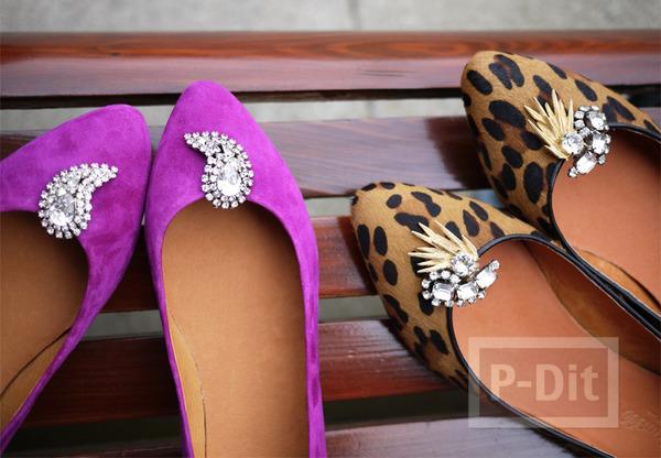 รองเท้าคัชชู ตกแต่งสวย ประดับเพชรเม็ดโต