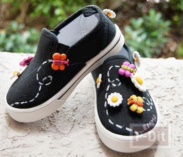 รองเท้าผ้าใบเด็ก ประดับดอกไม้ ผึ้ง ผีเสื้อ...
