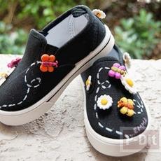 รองเท้าผ้าใบเด็ก ประดับดอกไม้ ผึ้ง ผีเสื้อ…