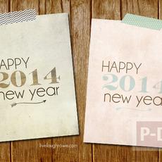 การ์ดปีใหม่ 2014 เรียบง่าย