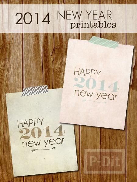 รูป 2 การ์ดปีใหม่ 2014 เรียบง่าย