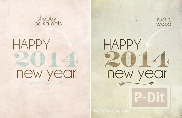 รูป 3 การ์ดปีใหม่ 2014 เรียบง่าย