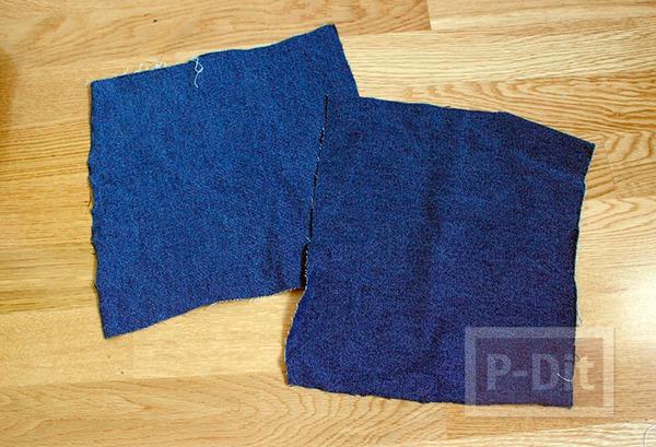 รูป 3 กางเกงยีนส์เก่าๆ นำมาเย็บกระเป๋าใบเล็ก