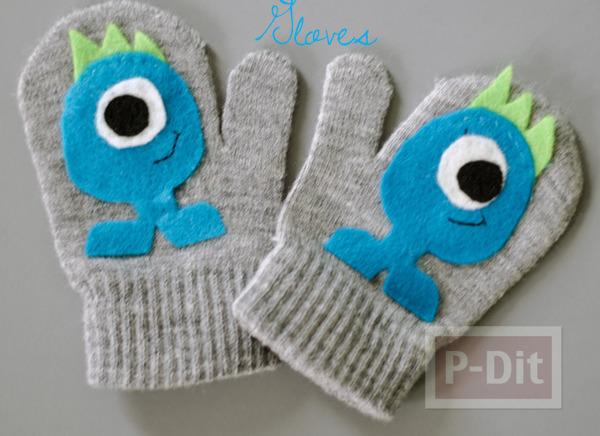 ถุงมือ ตกแต่งลายน่ารักๆ