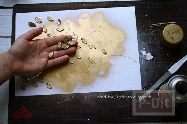 รูป 7 ประดิษฐ์ที่คาดผมลายใบไม้ สีทอง จากดินน้ำมัน