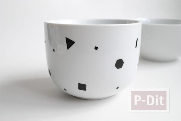 รูป 4 แก้วกาแฟ ตกแต่งสีสวย ลาย Shapes