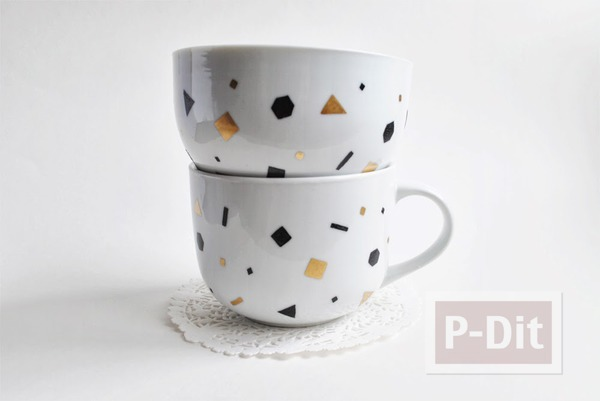 รูป 7 แก้วกาแฟ ตกแต่งสีสวย ลาย Shapes