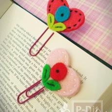 ประดิษฐ์ที่คั่นหนังสือ ลายหัวใจดอกไม้