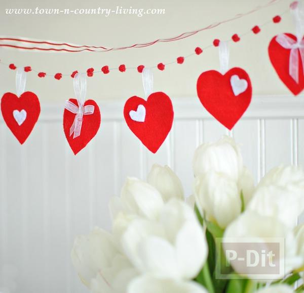 รูป 1 โมบายหัวใจ ของตกแต่งบ้านน่ารักๆ วันวาเลนไทน์