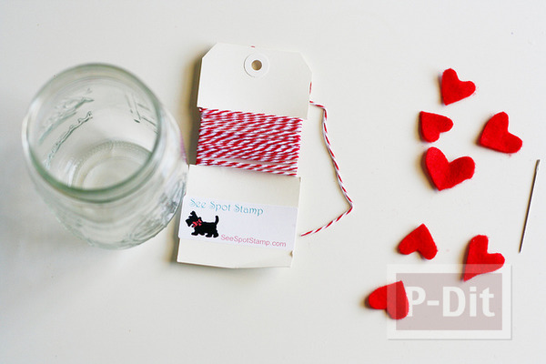 รูป 2 ของขวัญวันวาเลนไทน์ ขวดแก้วรัดเชือกร้อยหัวใจ