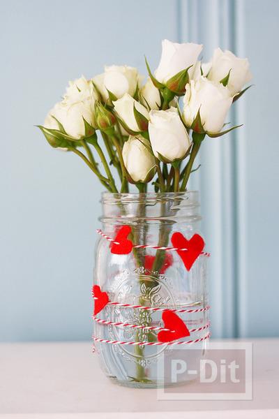 รูป 5 ของขวัญวันวาเลนไทน์ ขวดแก้วรัดเชือกร้อยหัวใจ