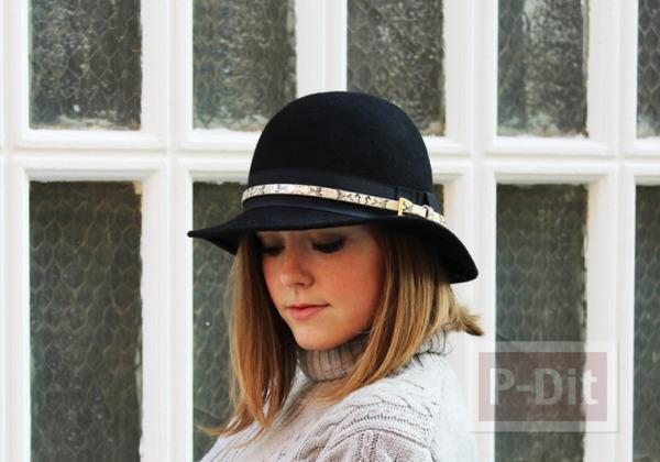 รูป 1 ตกแต่งหมวก จากเข็มขัดเส้นเล็ก