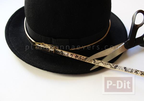 รูป 6 ตกแต่งหมวก จากเข็มขัดเส้นเล็ก