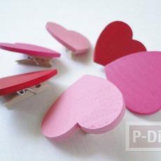 ทำที่หนีบกระดาษ จากไม้หนีบ รูปหัวใจ