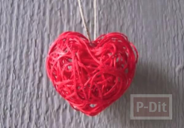 สร้อยรูปหัวใจ ทำเองจากเชือก