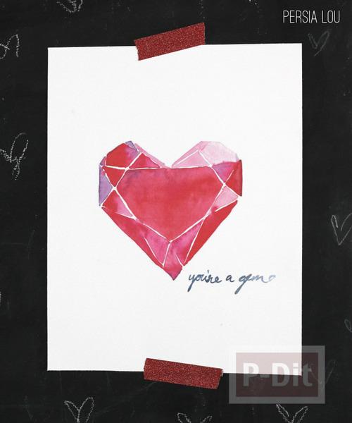 รูป 2 การ์ดวาเลนไทน์ หัวใจสีแดง