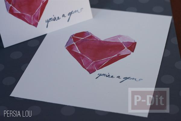 รูป 4 การ์ดวาเลนไทน์ หัวใจสีแดง
