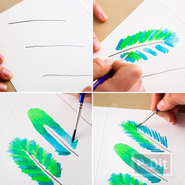 รูป 6 การ์ดสวยๆ ทำเอง ระบายสีน้ำ