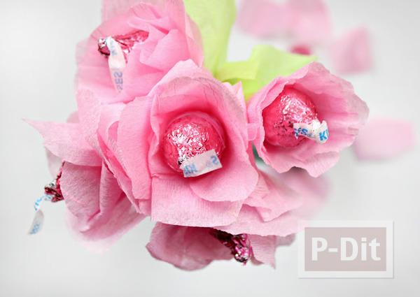รูป 3 ดอกไม้ส่งรัก ทำจากช็อคโกแลต สีชมพู