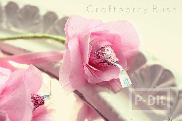 รูป 4 ดอกไม้ส่งรัก ทำจากช็อคโกแลต สีชมพู