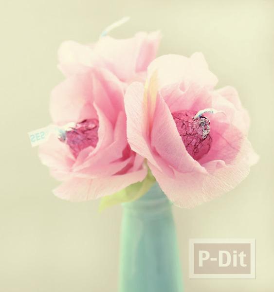 รูป 5 ดอกไม้ส่งรัก ทำจากช็อคโกแลต สีชมพู