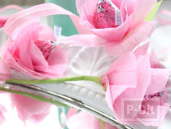 รูป 6 ดอกไม้ส่งรัก ทำจากช็อคโกแลต สีชมพู