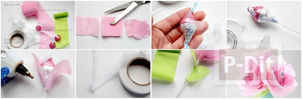 รูป 7 ดอกไม้ส่งรัก ทำจากช็อคโกแลต สีชมพู